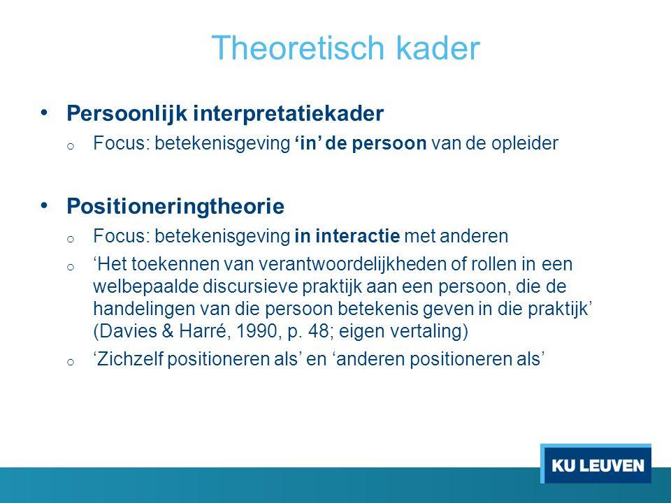 Theoretisch kader Persoonlijk interpretatiekader o Focus: betekenisgeving 'in' de persoon van de opleider Positioneringtheorie o Focus: betekenisgevin