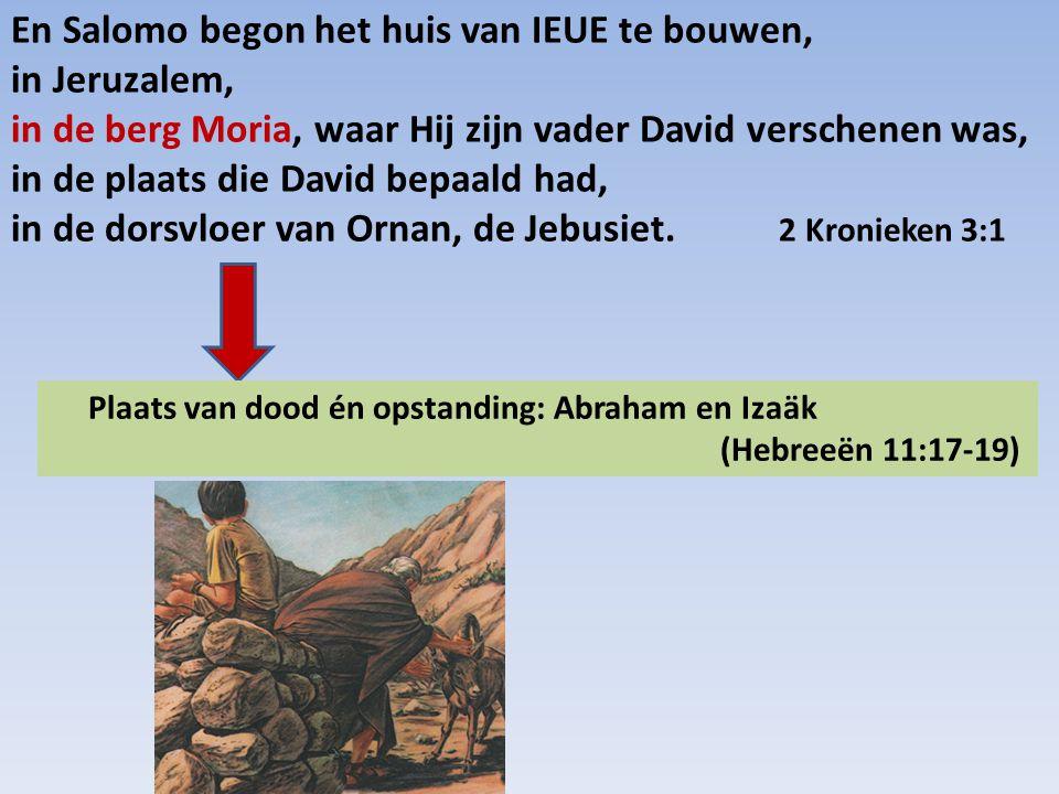En Salomo begon het huis van IEUE te bouwen, in Jeruzalem, in de berg Moria, waar Hij zijn vader David verschenen was, in de plaats die David bepaald