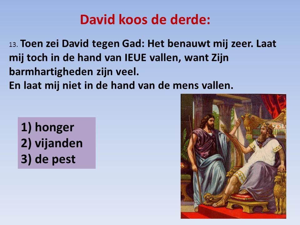 David koos de derde: 13. Toen zei David tegen Gad: Het benauwt mij zeer. Laat mij toch in de hand van IEUE vallen, want Zijn barmhartigheden zijn veel