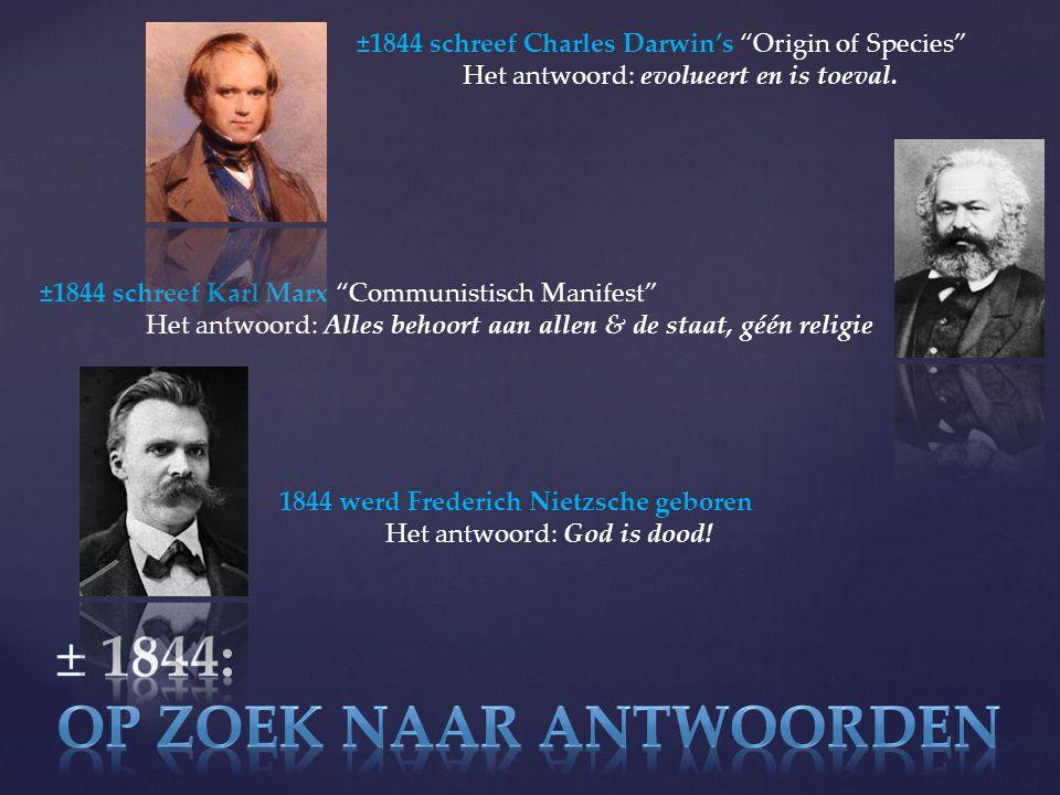 ±1844 schreef Charles Darwin's Origin of Species Het antwoord: evolueert en is toeval.