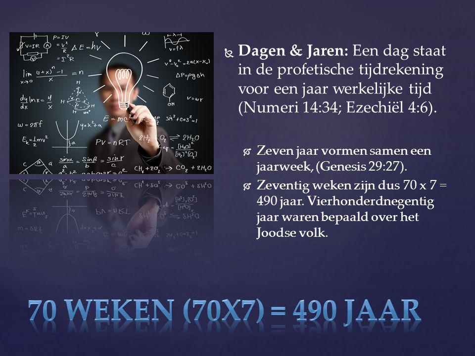   Dagen & Jaren: Een dag staat in de profetische tijdrekening voor een jaar werkelijke tijd (Numeri 14:34; Ezechiël 4:6).