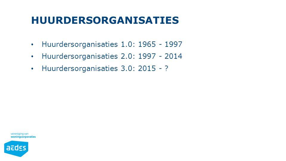 HUURDERSORGANISATIES Huurdersorganisaties 1.0: 1965 - 1997 Huurdersorganisaties 2.0: 1997 - 2014 Huurdersorganisaties 3.0: 2015 - ?