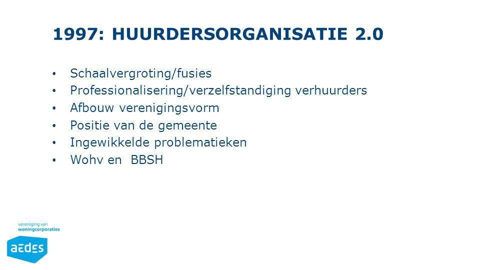 1997: HUURDERSORGANISATIE 2.0 Schaalvergroting/fusies Professionalisering/verzelfstandiging verhuurders Afbouw verenigingsvorm Positie van de gemeente Ingewikkelde problematieken Wohv en BBSH