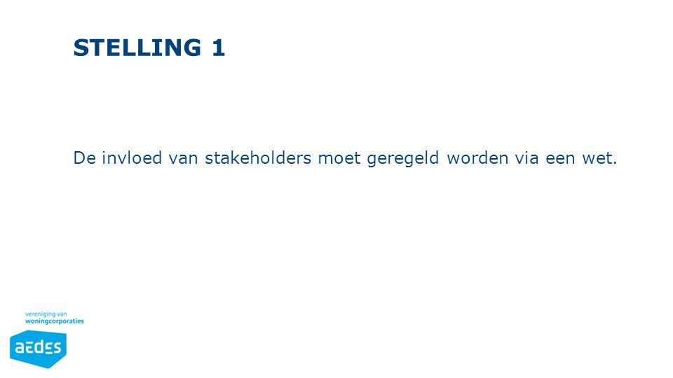 STELLING 1 De invloed van stakeholders moet geregeld worden via een wet.