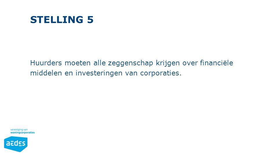 STELLING 5 Huurders moeten alle zeggenschap krijgen over financiële middelen en investeringen van corporaties.