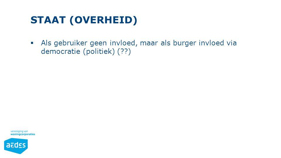 STAAT (OVERHEID) 9  Als gebruiker geen invloed, maar als burger invloed via democratie (politiek) (??)
