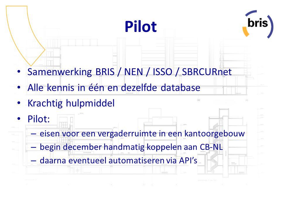 Pilot Samenwerking BRIS / NEN / ISSO / SBRCURnet Alle kennis in één en dezelfde database Krachtig hulpmiddel Pilot: – eisen voor een vergaderruimte in