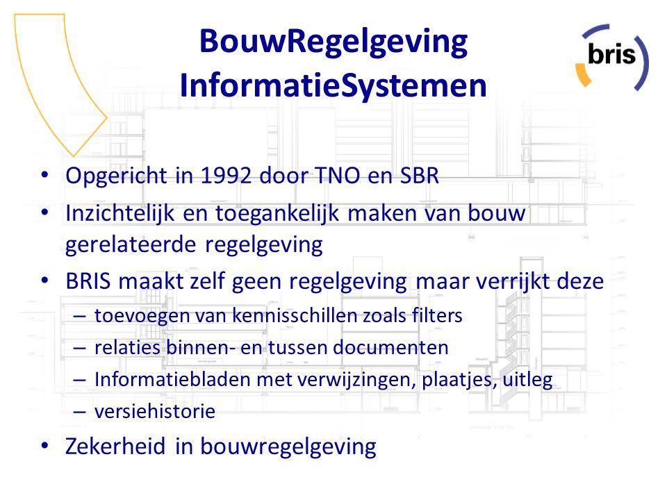 BouwRegelgeving InformatieSystemen Opgericht in 1992 door TNO en SBR Inzichtelijk en toegankelijk maken van bouw gerelateerde regelgeving BRIS maakt z