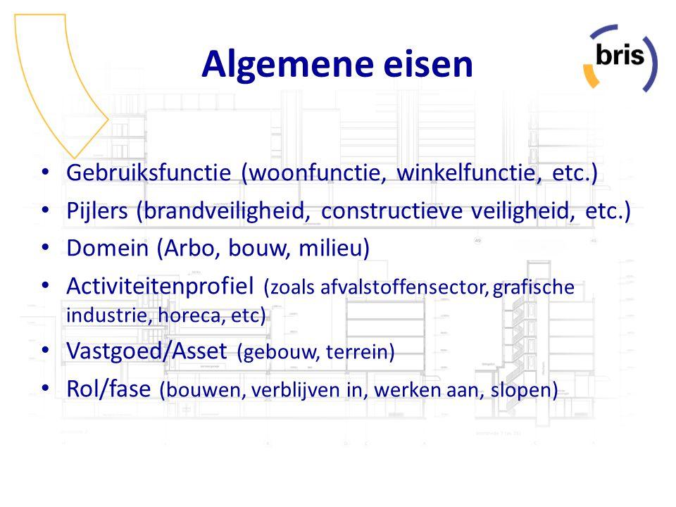 Specifieke eisen Mechanische installaties (warmteopwekking, luchtbehandeling, e.d.) Elektrische installaties (verlichting, communicatie, gebouwbeheer) Ruimten (slapen, sanitair, technische ruimte, e.d.) Activiteiten (lozen, materiaalbewerking, voedselbereiden, e.d.) Bouwdelen (fundering, binnenwand, dak, e.d.) Milieu en natuur (water, lucht, geluid) Arbo (gevaarlijke stoffen, machines, gehandicapten, e.d.) Type bouwdeel (afwerking, balustraden, openingen, e.d.) Management (documenten, logboeken, keuringen)