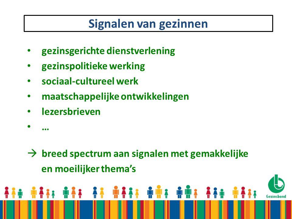 Signalen van gezinnen gezinsgerichte dienstverlening gezinspolitieke werking sociaal-cultureel werk maatschappelijke ontwikkelingen lezersbrieven … 