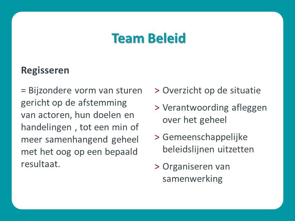 Team Beleid = Bijzondere vorm van sturen gericht op de afstemming van actoren, hun doelen en handelingen, tot een min of meer samenhangend geheel met het oog op een bepaald resultaat.
