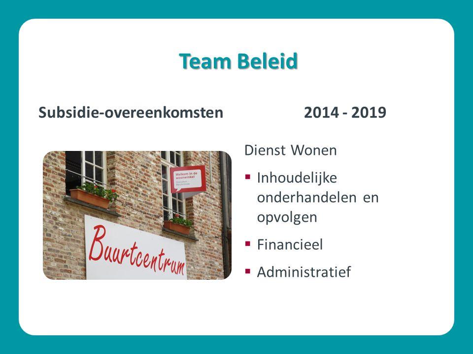 Team Beleid Dienst Wonen  Inhoudelijke onderhandelen en opvolgen  Financieel  Administratief Subsidie-overeenkomsten2014 - 2019