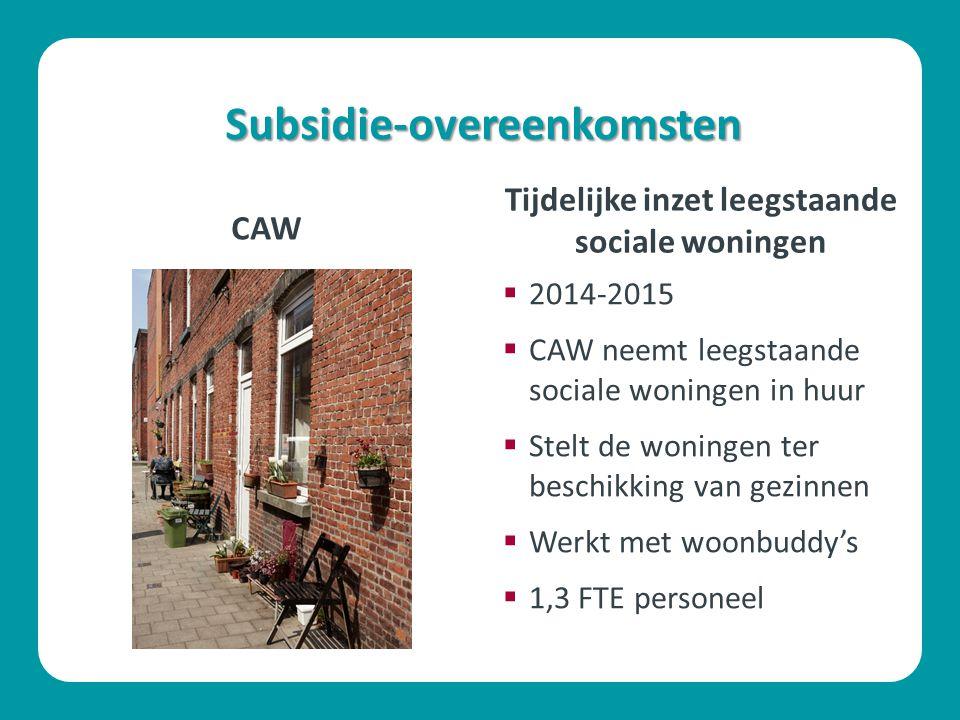 Subsidie-overeenkomsten CAW  2014-2015  CAW neemt leegstaande sociale woningen in huur  Stelt de woningen ter beschikking van gezinnen  Werkt met woonbuddy's  1,3 FTE personeel Tijdelijke inzet leegstaande sociale woningen