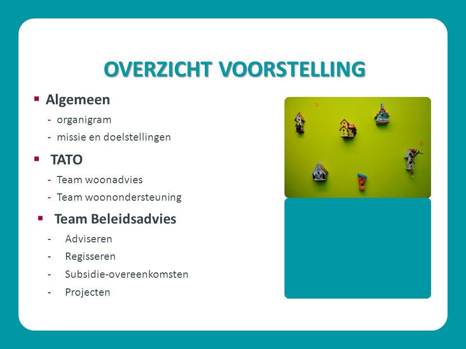 OVERZICHT VOORSTELLING  Algemeen -organigram -missie en doelstellingen  TATO -Team woonadvies -Team woonondersteuning  Team Beleidsadvies -Adviseren -Regisseren -Subsidie-overeenkomsten -Projecten