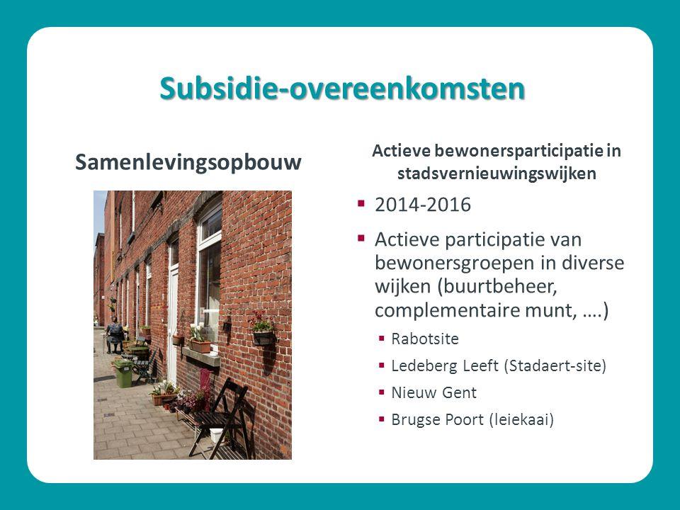 Subsidie-overeenkomsten Samenlevingsopbouw  2014-2016  Actieve participatie van bewonersgroepen in diverse wijken (buurtbeheer, complementaire munt,