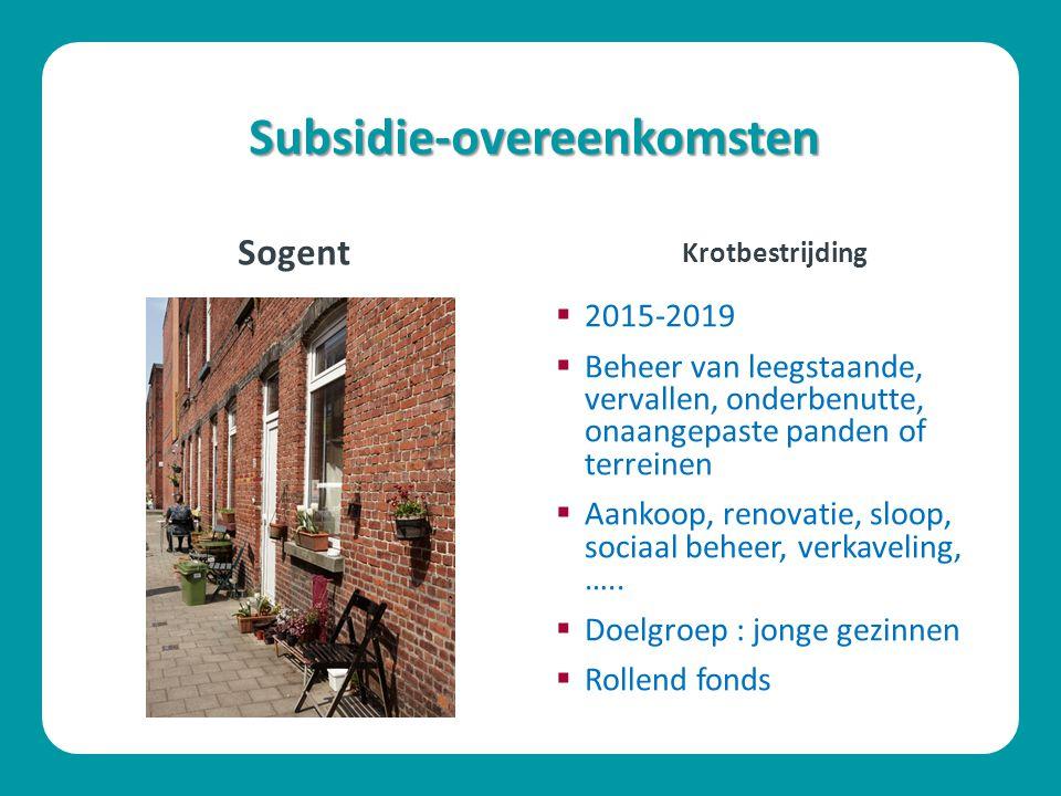 Subsidie-overeenkomsten Sogent  2015-2019  Beheer van leegstaande, vervallen, onderbenutte, onaangepaste panden of terreinen  Aankoop, renovatie, sloop, sociaal beheer, verkaveling, …..