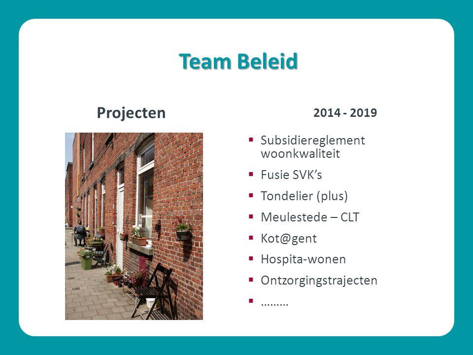 Team Beleid Projecten  Subsidiereglement woonkwaliteit  Fusie SVK's  Tondelier (plus)  Meulestede – CLT  Kot@gent  Hospita-wonen  Ontzorgingstrajecten  ……… 2014 - 2019