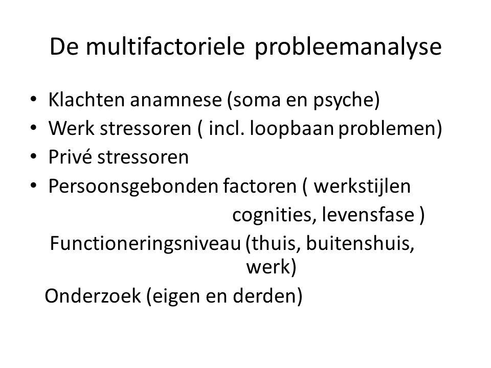 De multifactoriele probleemanalyse Klachten anamnese (soma en psyche) Werk stressoren ( incl. loopbaan problemen) Privé stressoren Persoonsgebonden fa