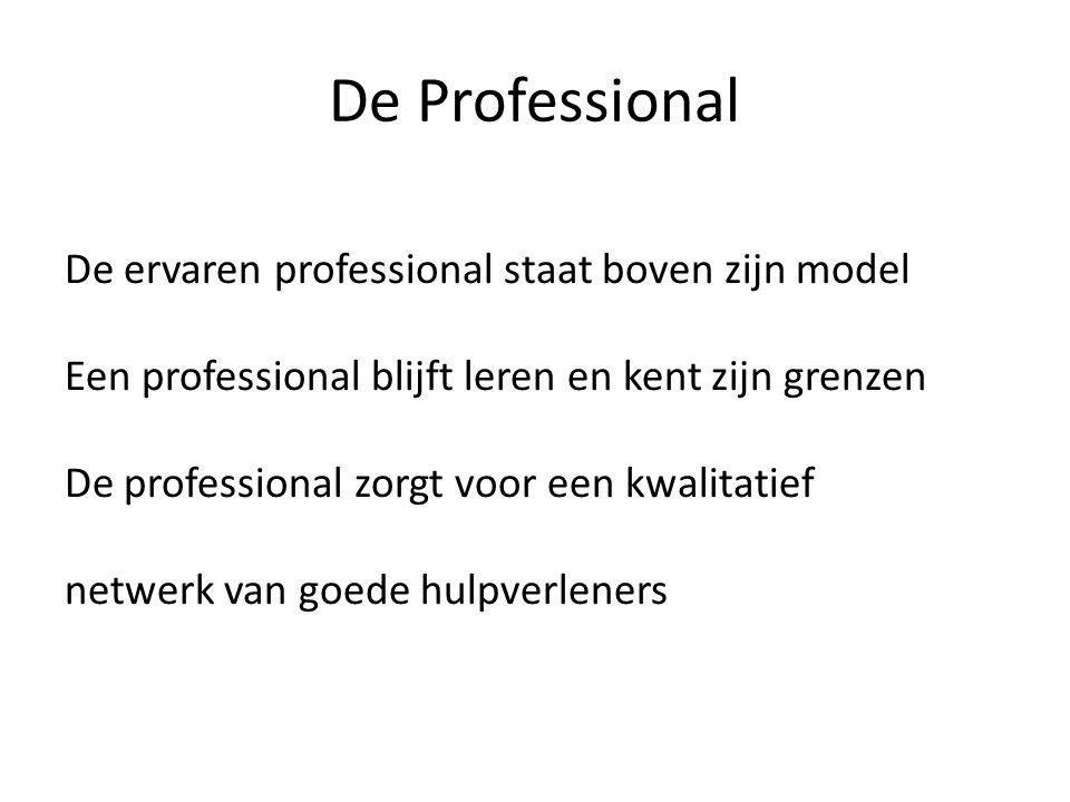 De Professional De ervaren professional staat boven zijn model Een professional blijft leren en kent zijn grenzen De professional zorgt voor een kwali