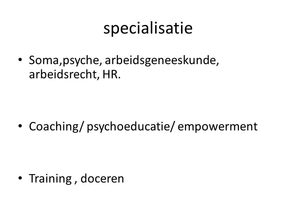 specialisatie Soma,psyche, arbeidsgeneeskunde, arbeidsrecht, HR. Coaching/ psychoeducatie/ empowerment Training, doceren