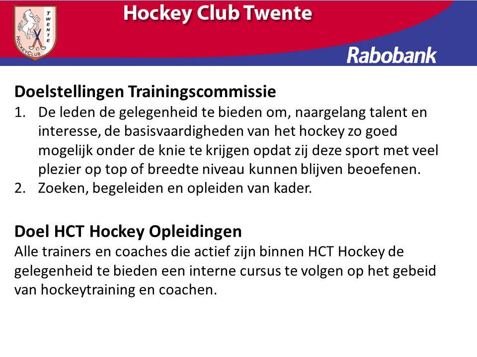 Doelstellingen Trainingscommissie 1.De leden de gelegenheid te bieden om, naargelang talent en interesse, de basisvaardigheden van het hockey zo goed