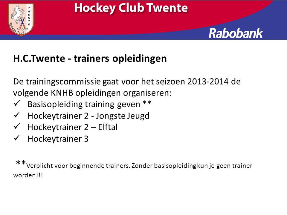 De trainingscommissie gaat voor het seizoen 2013-2014 de volgende KNHB opleidingen organiseren: Basisopleiding training geven ** Hockeytrainer 2 - Jon