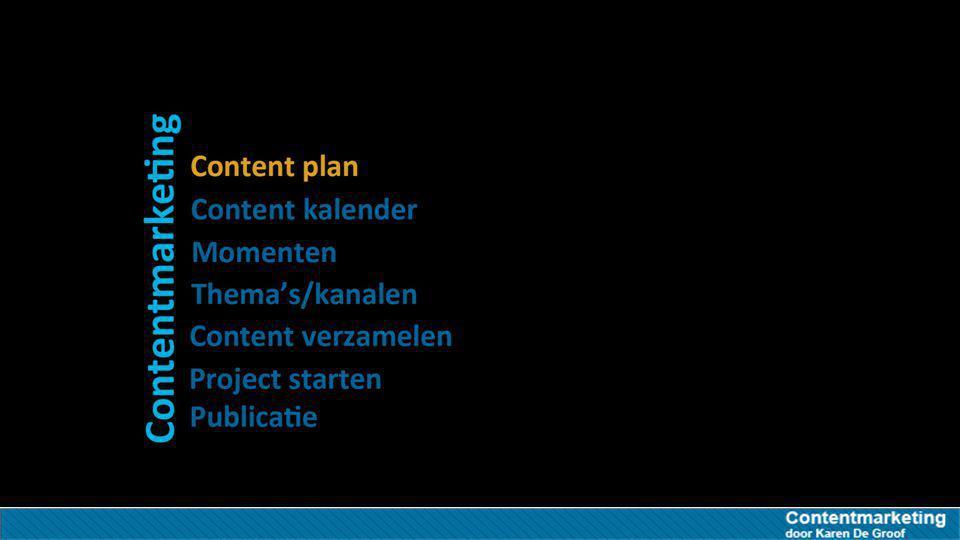Content plan focus Behoud de focus in de uitvoering van je contentmarketing contentverkrijgt Zorgt ervoor dat je je content ook echt verkrijgt afstemming Interne afstemming met andere departementen Consistentie Consistentie in je publishing inplanningcontent-tijd Vaste inplanning van content-tijd (belangrijk vs dringend)