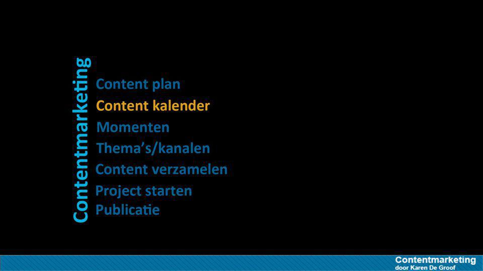Bepaal je thema's/kanalen Vanuit je content research weet je welke thema's, welk verhaal en welke kanalen je kan gebruiken welke content Je weet welke content werkt Welke platformen Welke platformen/content types vereist zijn (Instagram, facebook, Slideshare, LinkedIn, Twitter…) welke keywords Je weet op welke keywords je moet scoren beter Liever minder maar beter Beter 1 goed artikel dan veel losse flodders op FB, Twitter…