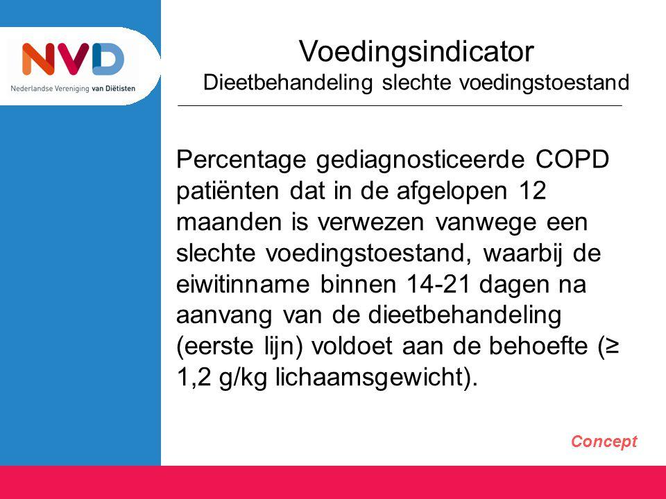 Voedingsindicator Dieetbehandeling slechte voedingstoestand Percentage gediagnosticeerde COPD patiënten dat in de afgelopen 12 maanden is verwezen van