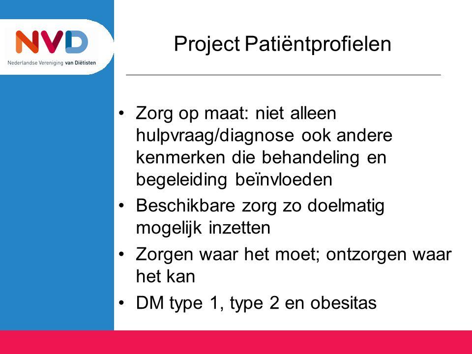 Project Patiëntprofielen Zorg op maat: niet alleen hulpvraag/diagnose ook andere kenmerken die behandeling en begeleiding beïnvloeden Beschikbare zorg