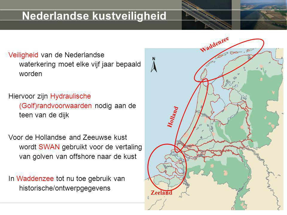 Motivatie Veiligheid van de Nederlandse waterkering moet elke vijf jaar bepaald worden Hiervoor zijn Hydraulische (Golf)randvoorwaarden nodig aan de teen van de dijk Voor de Hollandse and Zeeuwse kust wordt SWAN gebruikt voor de vertaling van golven van offshore naar de kust In Waddenzee tot nu toe gebruik van historische/ontwerpgegevens Waddenzee Holland Zeeland Nederlandse kustveiligheid