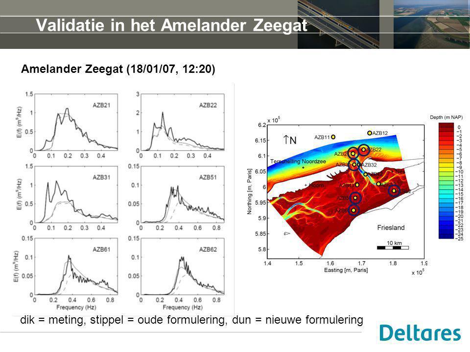 Validatie in het Amelander Zeegat Amelander Zeegat (18/01/07, 12:20) dik = meting, stippel = oude formulering, dun = nieuwe formulering
