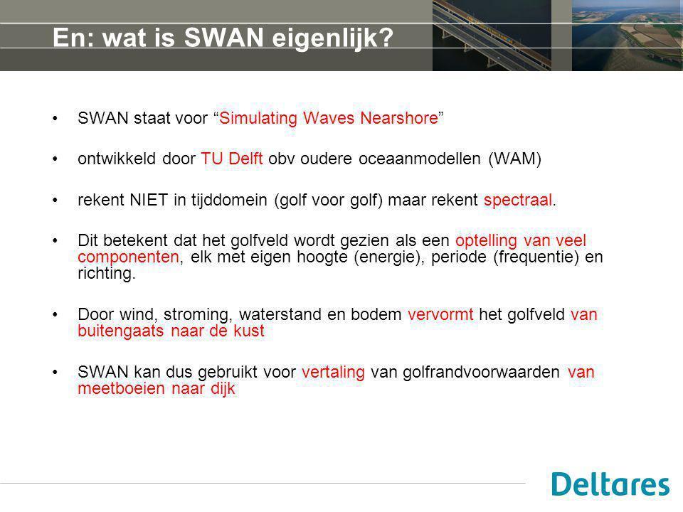 """En: wat is SWAN eigenlijk? SWAN staat voor """"Simulating Waves Nearshore"""" ontwikkeld door TU Delft obv oudere oceaanmodellen (WAM) rekent NIET in tijddo"""