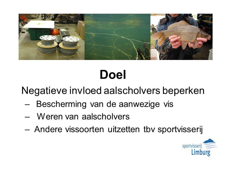 Doel Negatieve invloed aalscholvers beperken – Bescherming van de aanwezige vis – Weren van aalscholvers – Andere vissoorten uitzetten tbv sportvisserij