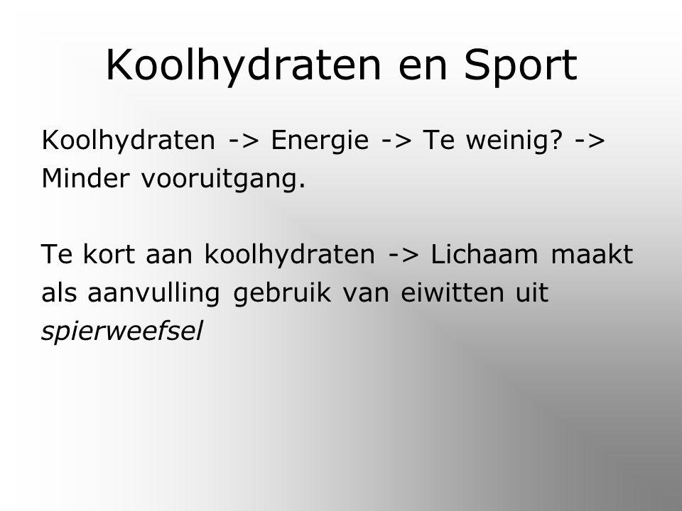Koolhydraten en Sport Koolhydraten -> Energie -> Te weinig.