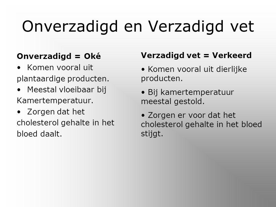Onverzadigd en Verzadigd vet Onverzadigd = Oké Komen vooral uit plantaardige producten.