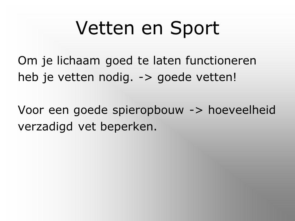 Vetten en Sport Om je lichaam goed te laten functioneren heb je vetten nodig.