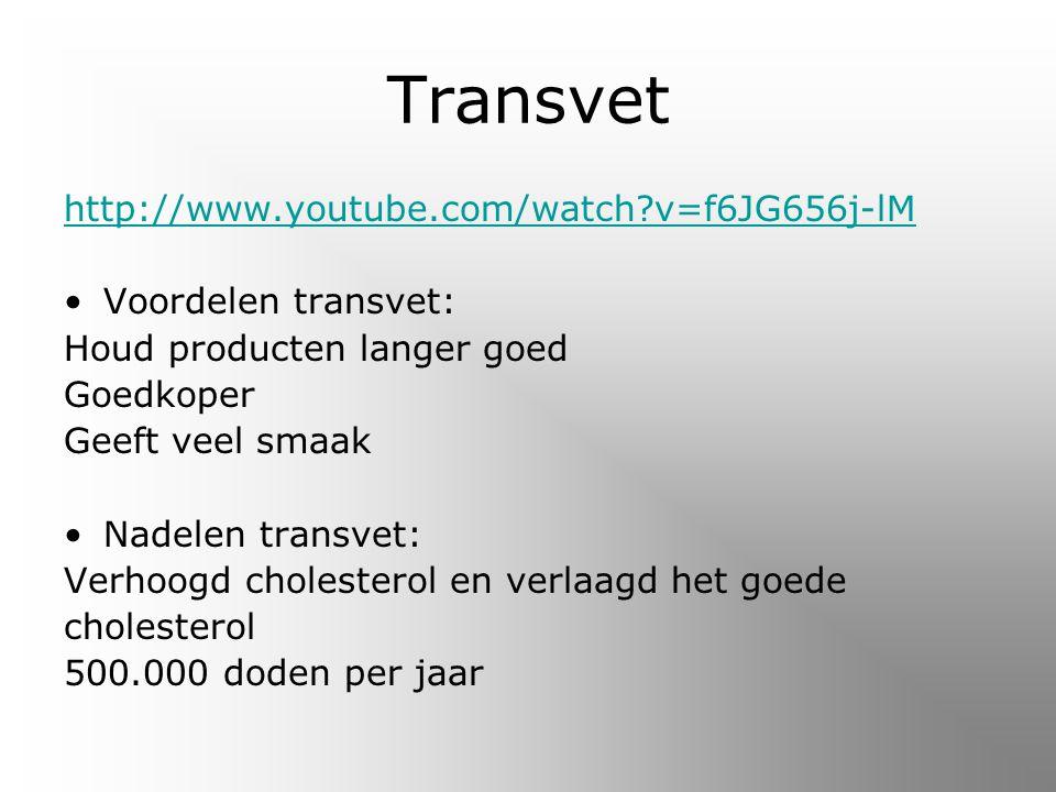 Transvet http://www.youtube.com/watch?v=f6JG656j-lM Voordelen transvet: Houd producten langer goed Goedkoper Geeft veel smaak Nadelen transvet: Verhoogd cholesterol en verlaagd het goede cholesterol 500.000 doden per jaar