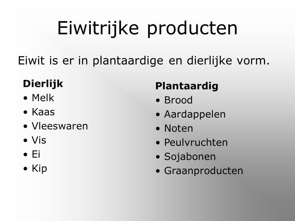 Eiwitrijke producten Eiwit is er in plantaardige en dierlijke vorm.