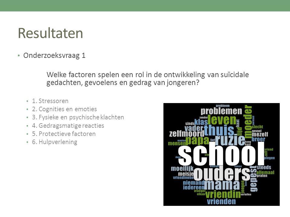 Resultaten Onderzoeksvraag 1 Welke factoren spelen een rol in de ontwikkeling van suïcidale gedachten, gevoelens en gedrag van jongeren? 1. Stressoren
