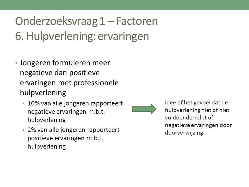 Onderzoeksvraag 1 – Factoren 6. Hulpverlening: ervaringen Jongeren formuleren meer negatieve dan positieve ervaringen met professionele hulpverlening