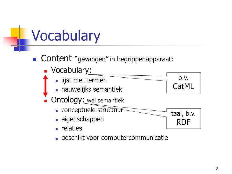 2 Vocabulary Content gevangen in begrippenapparaat: Vocabulary: lijst met termen nauwelijks semantiek Ontology: wél semantiek conceptuele structuur eigenschappen relaties geschikt voor computercommunicatie taal, b.v.