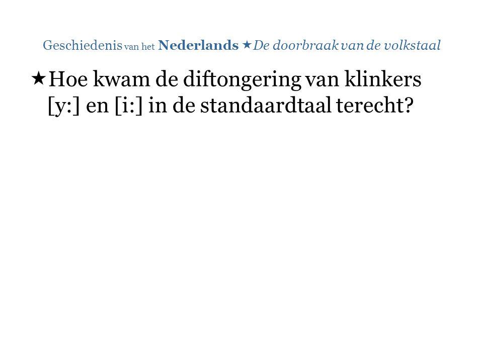 Geschiedenis van het Nederlands  De doorbraak van de volkstaal  Hoe kwam de diftongering van klinkers [y:] en [i:] in de standaardtaal terecht