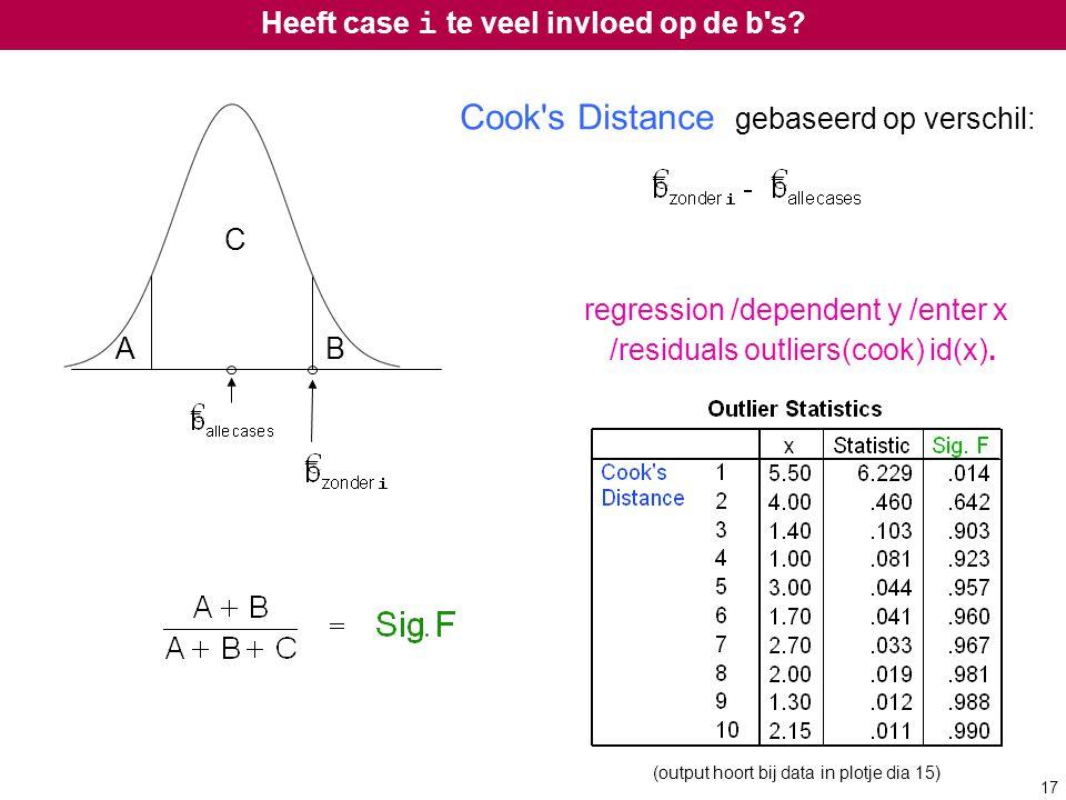 Heeft case i te veel invloed op de b's? Cook's Distance gebaseerd op verschil: regression /dependent y /enter x /residuals outliers(cook) id(x). AB C