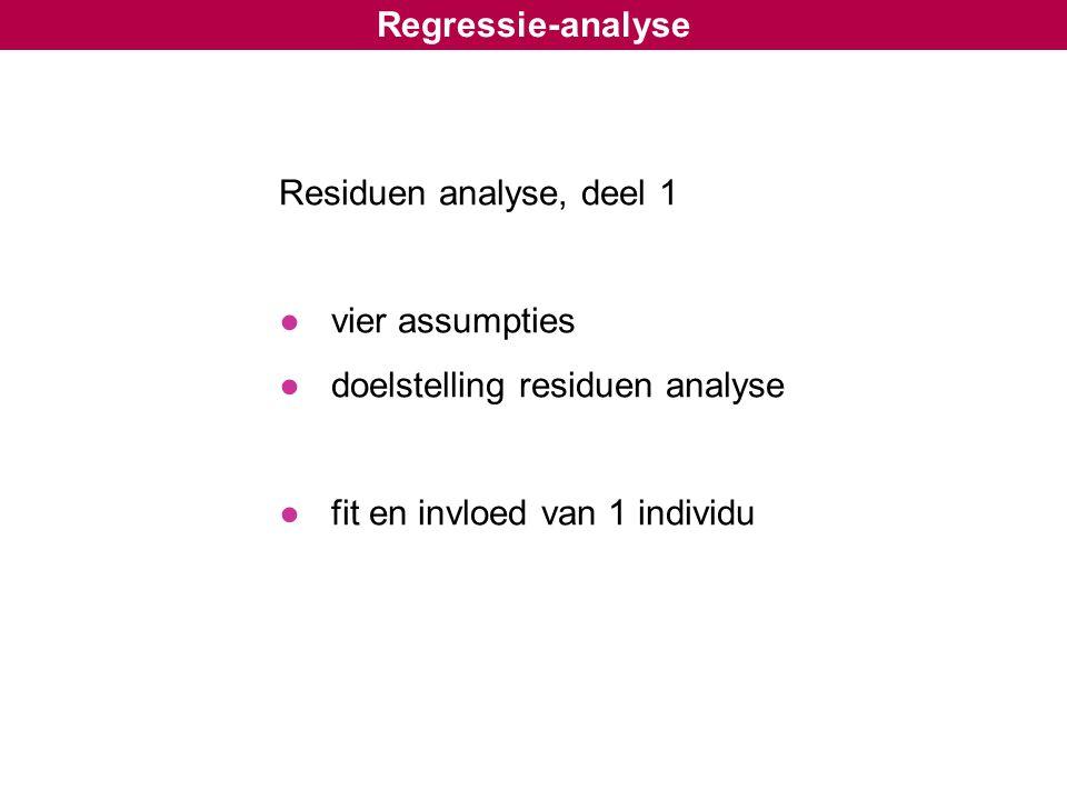 Regressie-analyse Residuen analyse, deel 1 ●vier assumpties ●doelstelling residuen analyse ●fit en invloed van 1 individu