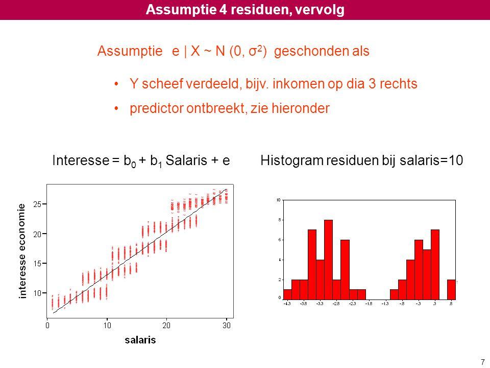 Assumptie 4 residuen, vervolg Assumptie e | X ~ N (0, σ 2 ) geschonden als Y scheef verdeeld, bijv. inkomen op dia 3 rechts predictor ontbreekt, zie h