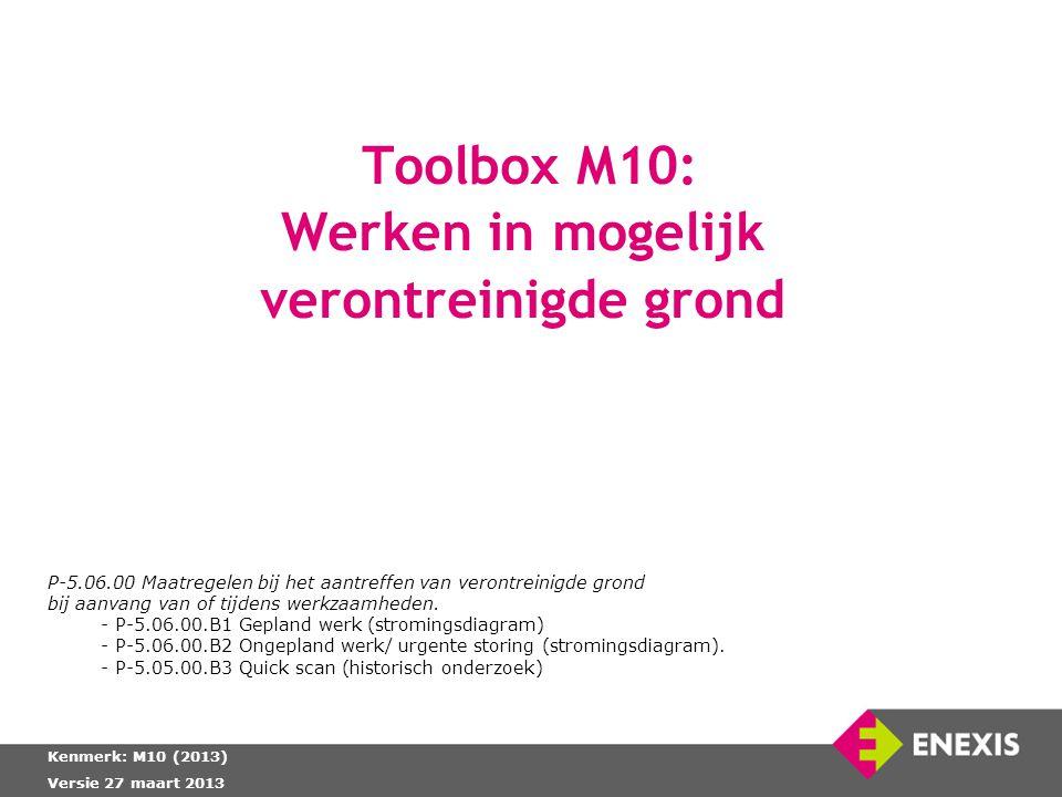 Toolbox M10: Werken in mogelijk verontreinigde grond Kenmerk: M10 (2013) Versie 27 maart 2013 P-5.06.00 Maatregelen bij het aantreffen van verontreini