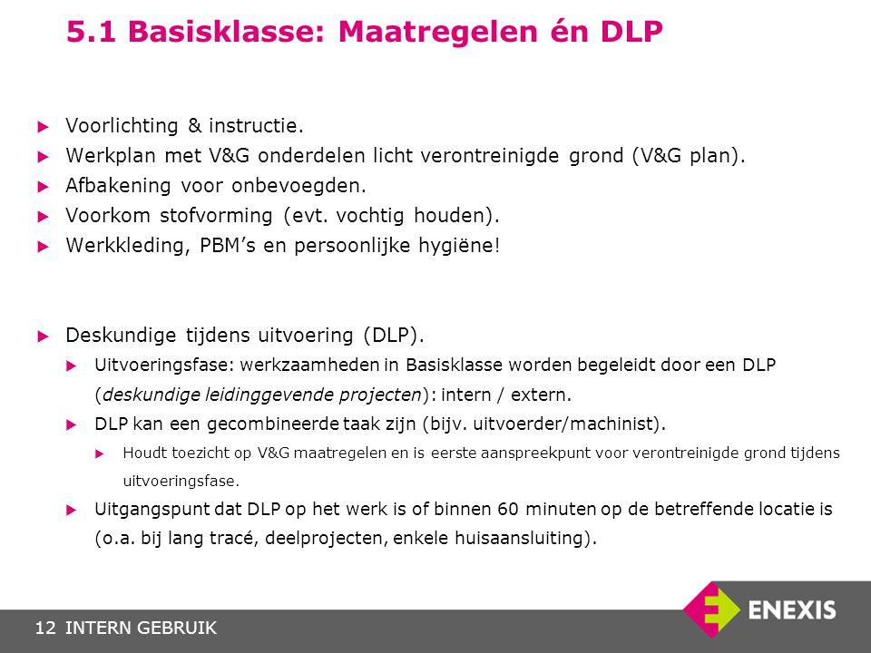 INTERN GEBRUIK12 5.1 Basisklasse: Maatregelen én DLP  Voorlichting & instructie.  Werkplan met V&G onderdelen licht verontreinigde grond (V&G plan).