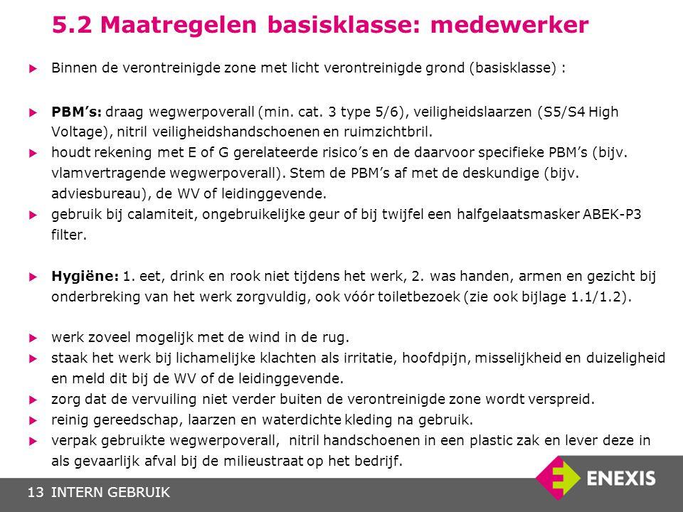 INTERN GEBRUIK13 5.2 Maatregelen basisklasse: medewerker  Binnen de verontreinigde zone met licht verontreinigde grond (basisklasse) :  PBM's: draag