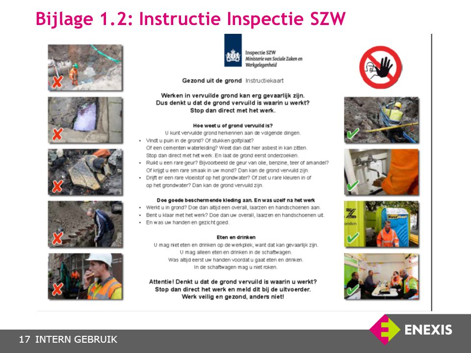 INTERN GEBRUIK Bijlage 1.2: Instructie Inspectie SZW 17